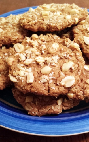 Peanut Butter Coconut Oatmeal Cookies, adapted from VCIYCJ using Earth Balance Coconut and Peanut Spread