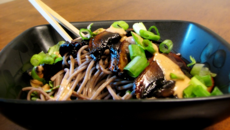 "Vegan Kamo Seiro - mushroom ""duck"" and soba noodles"