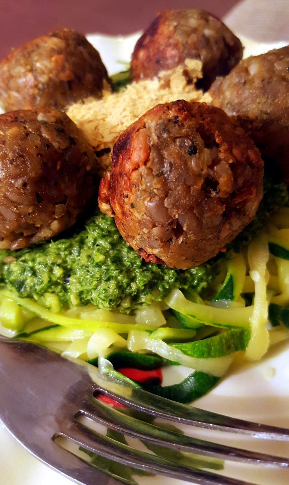 Carla Lee's Nut Balls served with Zucchini Noodles and Arugula Pesto #vegprodrev #vegan #glutenfree #xgfx