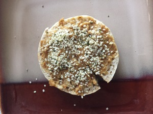 english muffin sprinkled with hemp hearts