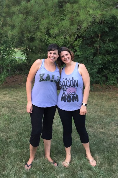 Amanda and Julie wearing everything vegan shirts