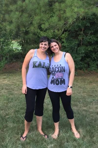 Amanda and Julie wearing everything vegan shirts
