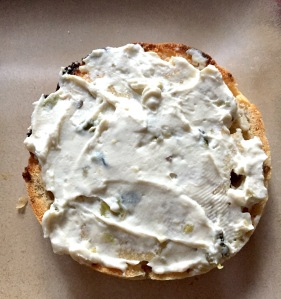 cream cheese on a english muffin